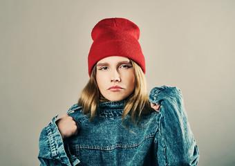 teenage hipster  girl emotional posing