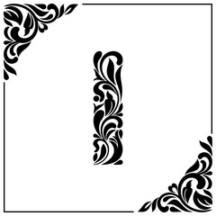The letter I. Decorative Font with swirls and floral elements. Vintage style