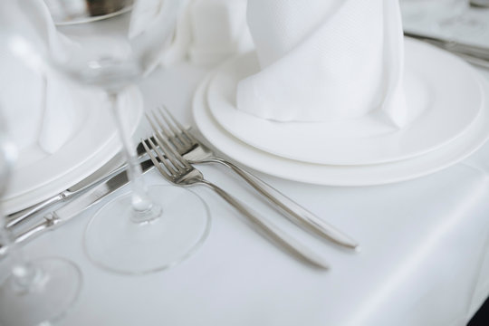 Closeup image of forks and cutlery in restaurant on celebration
