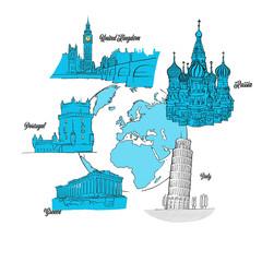 Europe Travel Landmarks on Globe