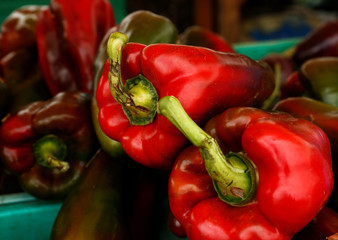 Red peppers are displayed on a vendor's stand at the Farmers' Market in Ta' Qali