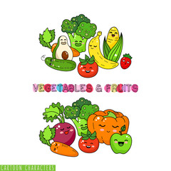 Cartoon funny vegetable characters. Happy smiling vegetable and fruits label.