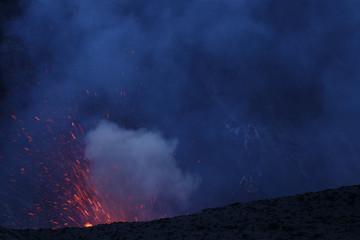 Eruption Yasur vulcano, sunset on the crater edge, Tanna, Vanuatu