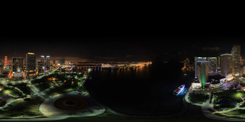 Aerial spherical panorama of Downtown Miami at night