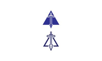 swords, triangles, warrior swords, wars, shields, pens, ink pens, emblem symbol icon vector logo