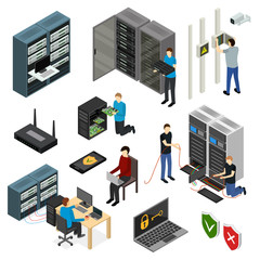 Server Hardware Signs Icons Set Isometric View. Vector