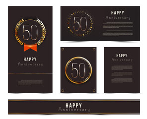 Fifty years anniversary invitation / greeting cards template. Vector illustration with black and gold elements.