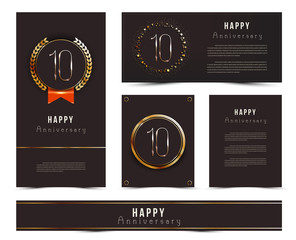 Ten years anniversary invitation / greeting cards template. Vector illustration with black and gold elements.