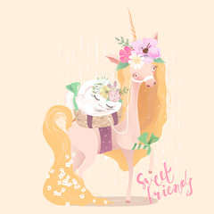 Cute, beautiful unicorn. Princess girl unicorn in floral, flowers wreath, bouquet, tied bow and basket with white bunny, rabbit