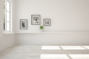 White empty room. Scandinavian interior design. 3D illustration