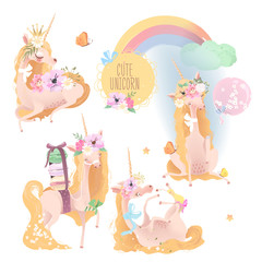 Cute, beautiful unicorn set, collection. Princess girl unicorn with crown, floral bouquet, flowers wreath, balloon, tied bows, hummingbird, macaroons and butterfly