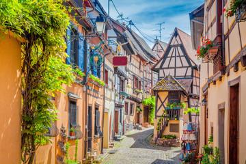 Charming street scene in old medieval village in Europe in summer