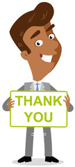 Vector illustration of a friendly asian cartoon businessman holding a sign that says 'thank you'.