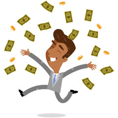 Vector illustration of a happy young asian cartoon businessman jumping and throwing bank notes and coins around