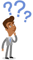 Vector illustration of a clueless asian cartoon businessman looking at three blue question marks next to his head.