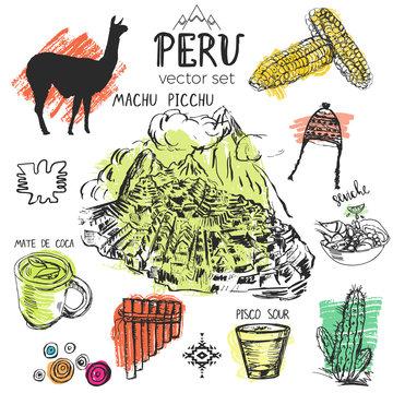 Set of hand drawn symbols of Peru.