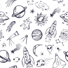 Space themed seamless pattern.