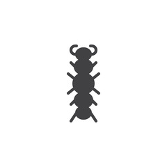 Caterpillar insect icon vector, filled flat sign, solid pictogram isolated on white. Symbol, logo illustration.