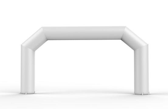 White Blank Inflatable angular Arch Tube or Event Entrance Gate. 3d render illustration.