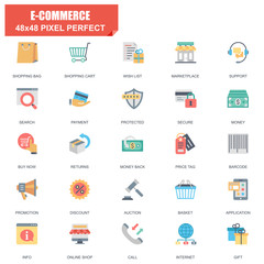 Simple Set of E-commerce Related Vector Flat Icons. Contains such Icons as Shop, Delivery, Shopping bag, Sale, Wallet, Online Support, Price Tag and more. Editable Stroke. 48x48 Pixel Perfect.