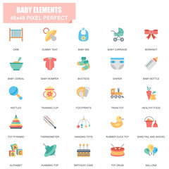Simple Set of Baby Elements Related Vector Flat Icons. Contains such Icons as Crib, Dummy Teat, Diaper, Rattles, Rubber Duck Toy, Footprints and more. Editable Stroke. 48x48 Pixel Perfect.