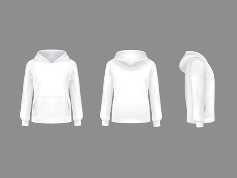 Vector hoodie sweatshirt white 3d realistic mockup template. Fashion long sleeve clothing hooded pullover front side back view. Illustration grey background. Woman man unisex cotton apparel sportswear