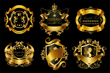 Vector set of golden royal stickers with crowns, shields, ribbons, lions, stars isolated on black background. Luxurious emblems with heraldic ornament, premium quality labels for brand promotion