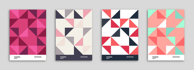 Abstract Background Cover / Flyer / Poster / Album Template Bundle - Triangle Shapes Minimal Pattern