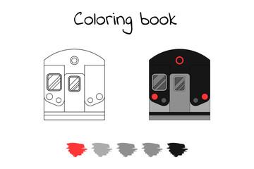 Coloring book for children. Vector illustration. subway train, metro.