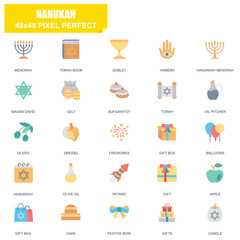 Simple Set of Hanukah Related Vector Flat Icons. Contains such Icons as Menorah, Torah Book, Candle, Dreidel, Hamesh, Sufganiyot and more. Editable Stroke. 48x48 Pixel Perfect.