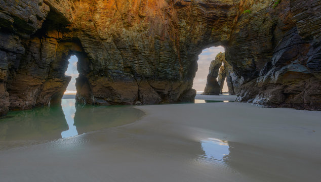 The picturesque rock formations of the beach of As Catedrais