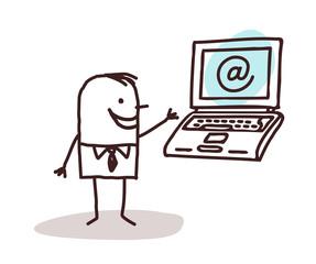 Cartoon Businessman with a Laptop
