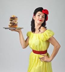 Beautiful brunette with big Burger  .