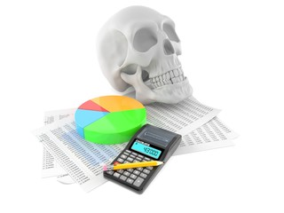 Skull with report and pie chart