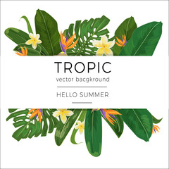 Template with tropic plants and flowers and place for text.