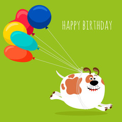 Dog running with air balloons card