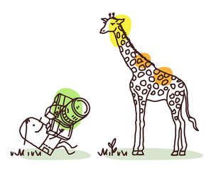 Cartoon Photographer Taking a Picture of Giraffe