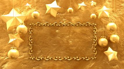 Beautiful golden Christmas frame. 3D rendering, illustration.