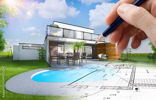 Plan et esquisse d\'une maison individuelle moderne avec piscine et ...