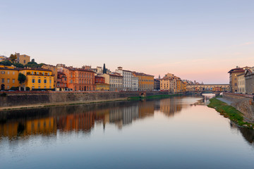 Florence. The city embankment along the Arno River.