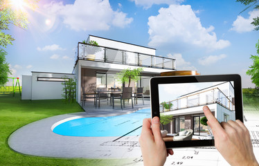 Plan et esquisse d'une maison individuelle moderne avec piscine et jardin