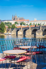 View of Prague castle and Charles Bridge in morning