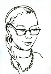 Hand drawn beautiful cute young girl. Glasses and braid. Marker illustration.