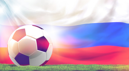 Russia design soccer football ball 3d rendering with green grass meadow blades of grass and russian flag