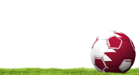 Qatar design soccer football ball 3d rendering with green grass meadow blades of grass
