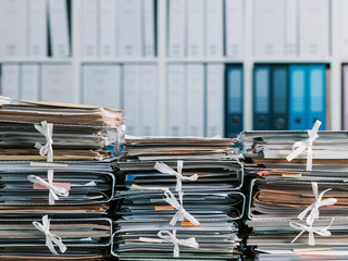 Stacks of paperwork in the office
