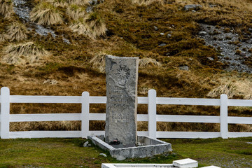 Ernest Henry Shackleton's grave in Grytviken on South Georgia