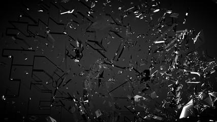 Beautiful fragments of glass splinters black background. 3d illustration, 3d rendering.