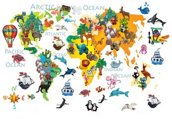 World  animals plasticine colorful kids 3d map