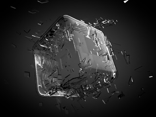 Broken glass cube. 3d illustration, 3d rendering.